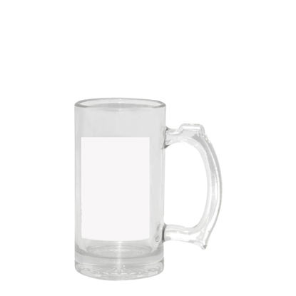 Picture of MUG GLASS - BEER 16oz.- Clear+White Patch