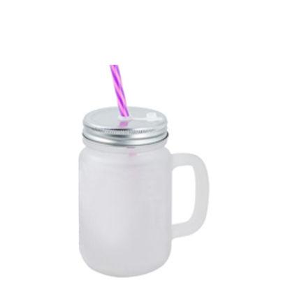 Picture of MUG GLASS - MASON JAR 400ml - FROSTED