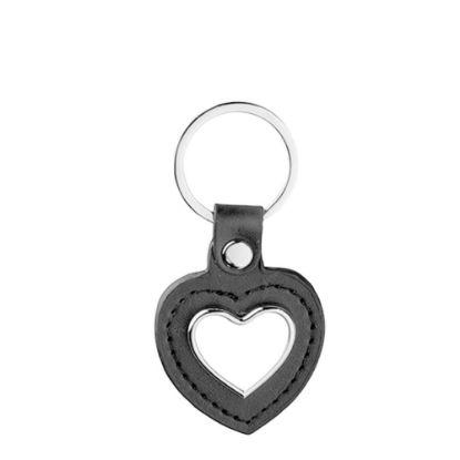 Εικόνα της KEY-RING -  METAL+ LEATHER (Heart) black