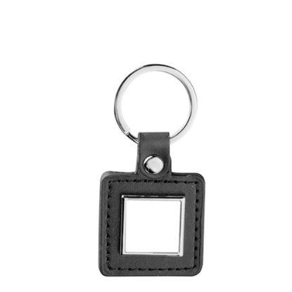 Εικόνα της KEY-RING -  METAL+ LEATHER (Square) black