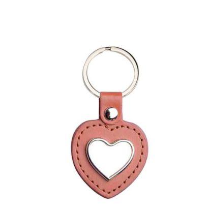 Εικόνα της KEY-RING -  METAL+ LEATHER (Heart) brown