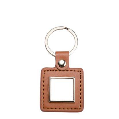 Εικόνα της KEY-RING -  METAL+ LEATHER (Square) brown