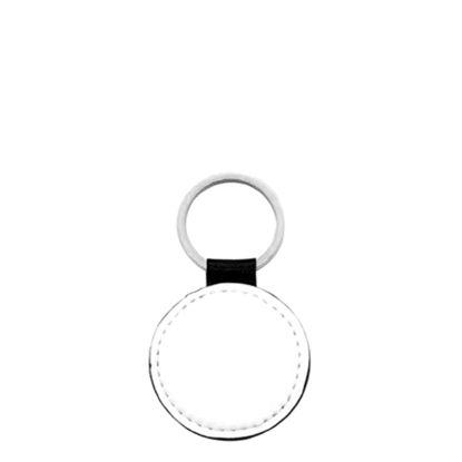 Εικόνα της KEY-RING - Leather (GLITTER) ROUND silver