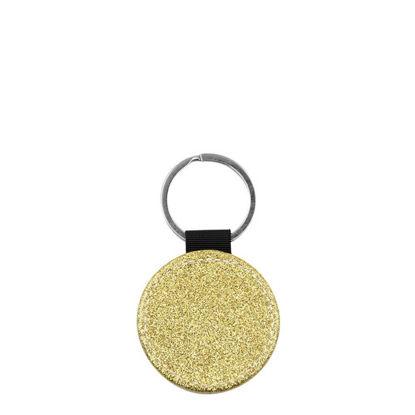Εικόνα της KEY-RING - Leather (GLITTER) ROUND golden