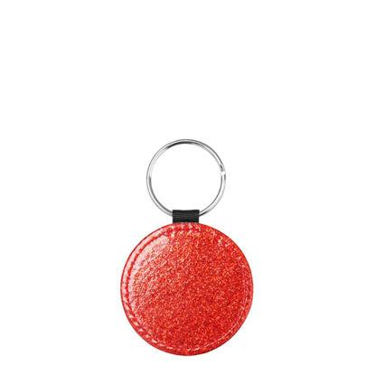 Εικόνα της KEY-RING - Leather (GLITTER) ROUND red