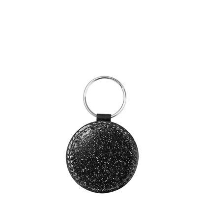 Εικόνα της KEY-RING - Leather (GLITTER) ROUND black