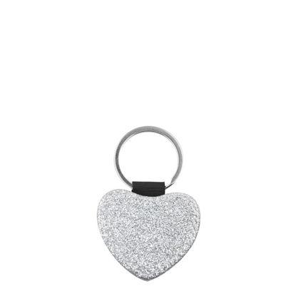 Εικόνα της KEY-RING - Leather (GLITTER) HEART silver
