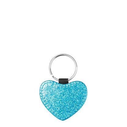 Εικόνα της KEY-RING - Leather (GLITTER) HEART blue