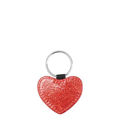 Εικόνα της KEY-RING - Leather (GLITTER) HEART red