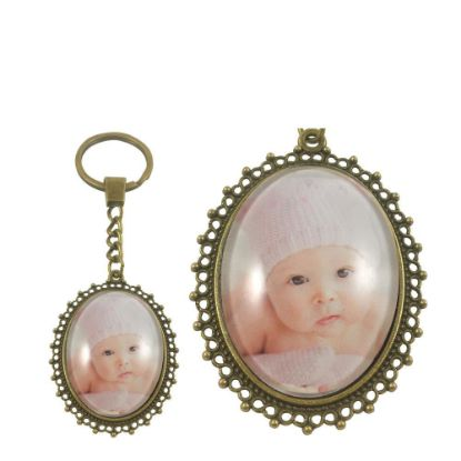 Picture of KEY-RING - ALLOY oval gold (P029)