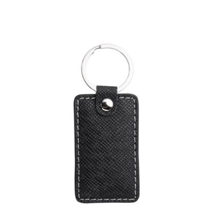 Picture of KEY-RING - PU LEATHER (Rectangular) BLACK