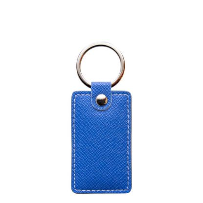 Picture of KEY-RING - PU LEATHER (Rectangular) BLUE