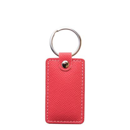 Picture of KEY-RING - PU LEATHER (Rectangular) RED