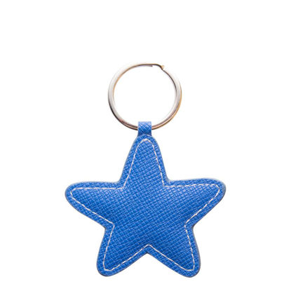 Picture of KEY-RING - PU LEATHER (Star) BLUE