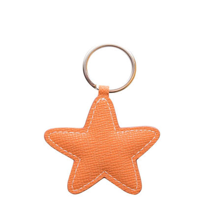 Picture of KEY-RING - PU LEATHER (Star) ORANGE