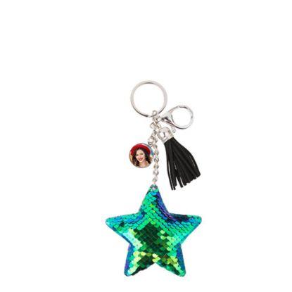 Εικόνα της KEY-RING - (SEQUIN) STAR blue/green