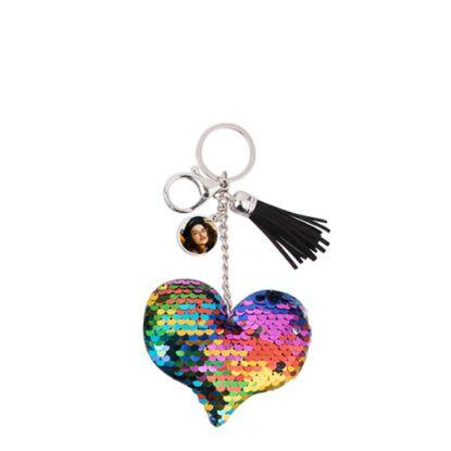 Εικόνα της KEY-RING - (SEQUIN) HEART mixed colors