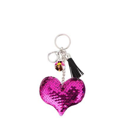 Εικόνα της KEY-RING - (SEQUIN) HEART rose red