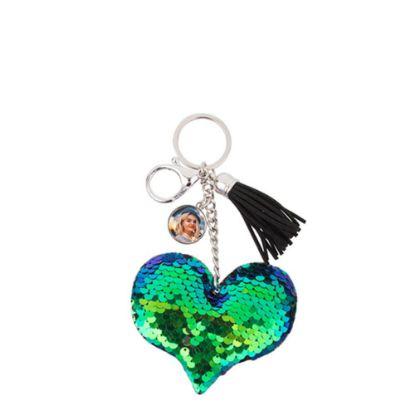 Εικόνα της KEY-RING - (SEQUIN) HEART blue/green