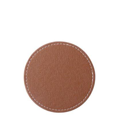 Εικόνα της COASTER (LEATHER) ROUND 9.5cm - BROWN