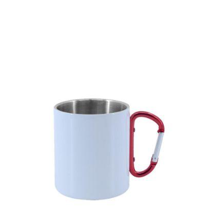 Εικόνα της Stainless Steel Mug 8oz - WHITE with Red Handle