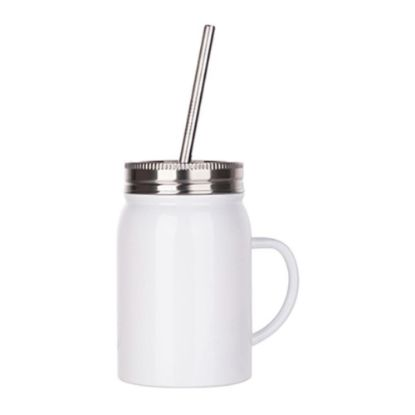 Picture of MASON JAR with straw - 17oz WHITE with handle