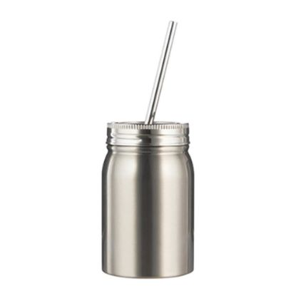 Picture of MASON TUMBLER with straw - 17oz SILVER