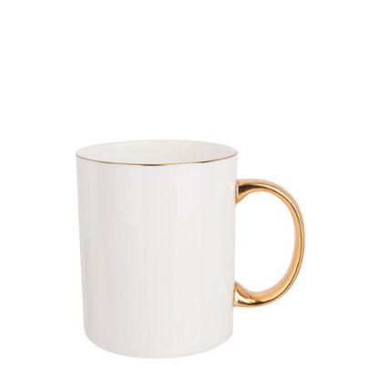 Εικόνα της MUG WHITE (Bone China) 11oz GOLD rim & Hand