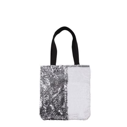 Εικόνα της BAG Sequin+Linen  2-LAYERS (SILVER) 35x38cm
