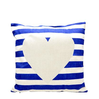 Picture of PILLOW - COVER (LINEN blue & white) 40x40cm