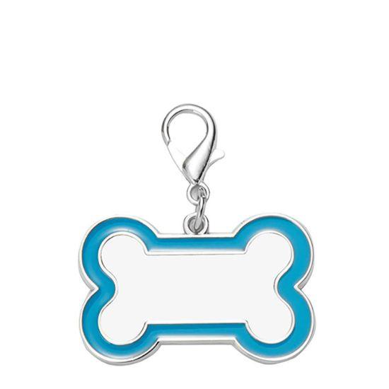 Εικόνα της Pet Tag (DOG BONE Blue edge) 3x4.5cm - Zinc alloy