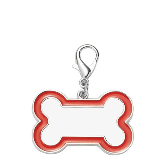 Εικόνα της Pet Tag (DOG BONE Red edge) 3x4.5cm - Zinc alloy