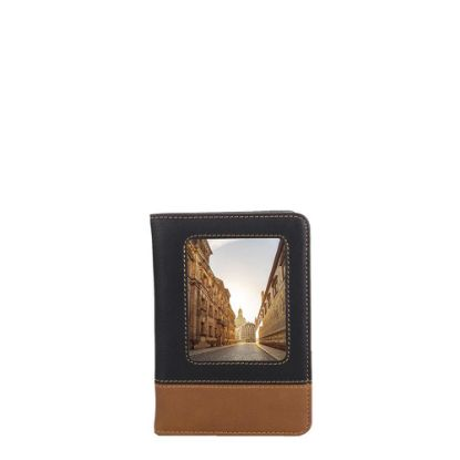 Picture of LEATHER PASSPORT holder with alum.10.2x14.6cm