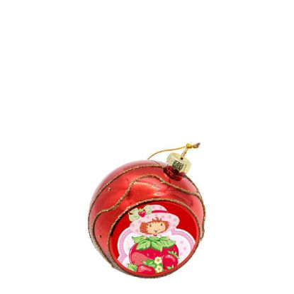 Picture of XMAS - BALL 8cm/RED with Golden Sparkle