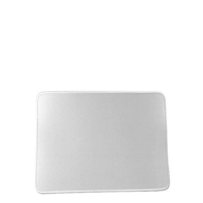 Picture of Mouse-Pad RECTANGLE (23.5x19.7cm) rubber 3mm - WHITE sewn-edge