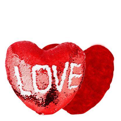 Εικόνα της PILLOW - COVER Sequin(HEART)RED 34x40