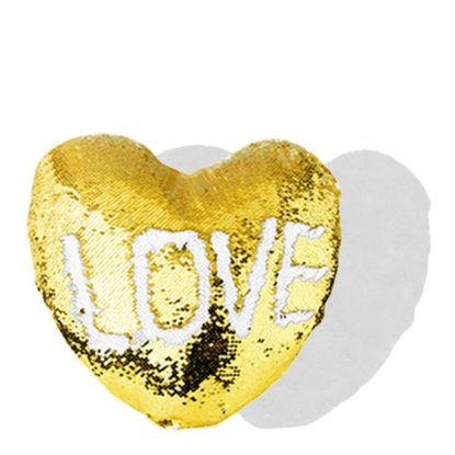 Εικόνα της PILLOW - COVER Sequin(HEART)GOLD wh 39x44