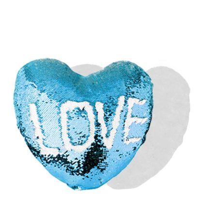Εικόνα της PILLOW - COVER Sequin(HEART)BLUE L. wh.39x44