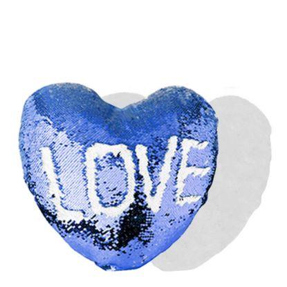 Εικόνα της PILLOW - COVER Sequin(HEART)BLUE D. wh.39x44