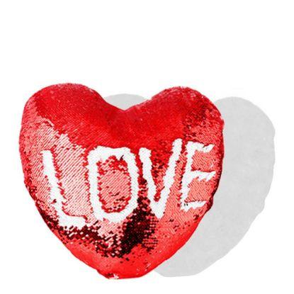 Εικόνα της PILLOW - COVER Sequin(HEART)RED wh 39x44