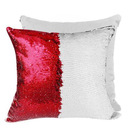 Εικόνα της PILLOW - COVER Sequin(RED white back)40x40