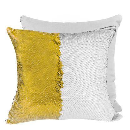 Εικόνα της PILLOW - COVER Sequin(GOLD white back)40x40