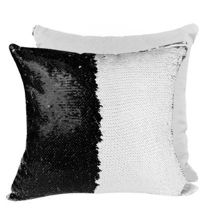 Εικόνα της PILLOW - COVER Sequin(BLACK white back)40x40