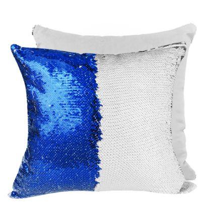 Εικόνα της PILLOW - COVER Sequin(BLUE D.white back)40x40