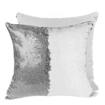 Εικόνα της PILLOW - COVER Sequin(SILVER white back)40x40