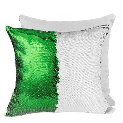 Εικόνα της PILLOW - COVER Sequin(GREEN white back)40x40