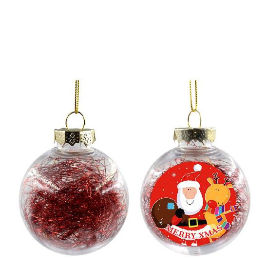 Picture of XMAS BALL - CLEAR/RED- Diam. 8cm