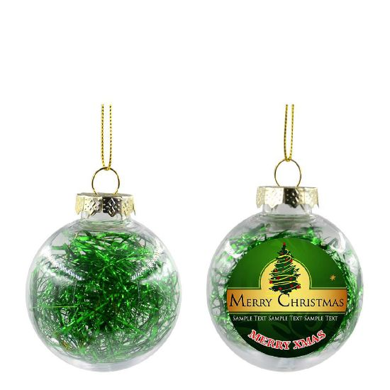 Picture of XMAS BALL - CLEAR/GREEN- Diam. 8cm