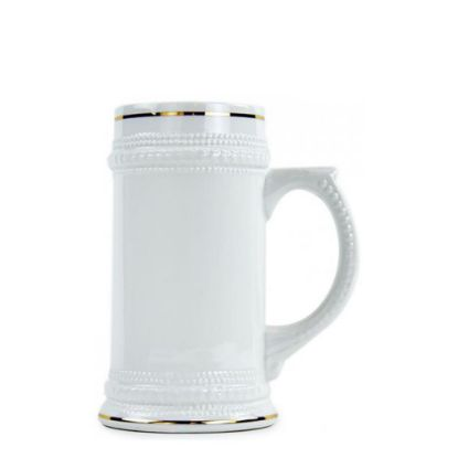 Picture of BEER MUG - WHITE/GLOSS - 22oz with Gold Rim