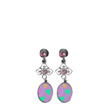 Picture of EAR RING - METAL (Zinc-Alloy) oval pink